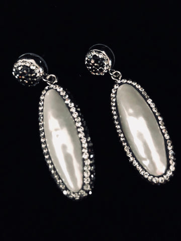 Long Mother of Pearl and Crystal earrings