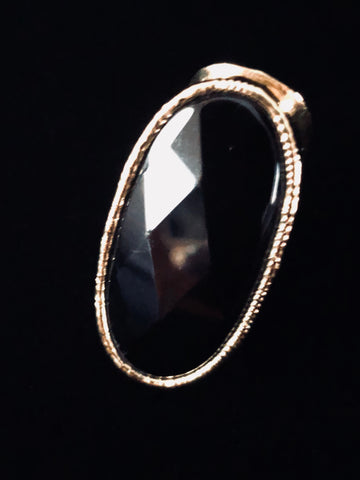 Diamond Cut Black Onyx Statement Ring