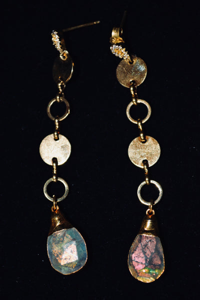 Long Drop Rainbow Moonstone Earrings