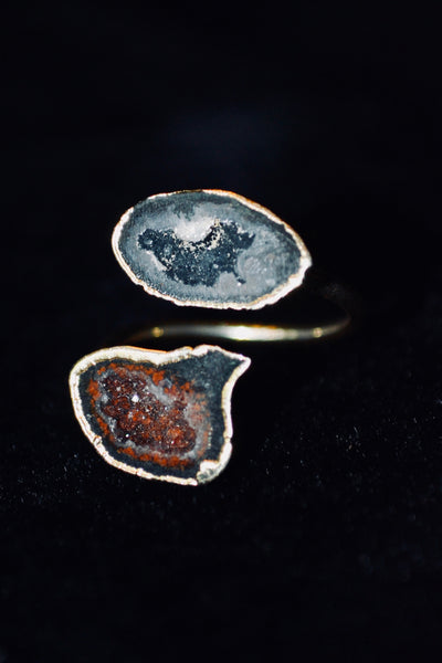 Tiny 2 Stone Druzy Quartz Ring