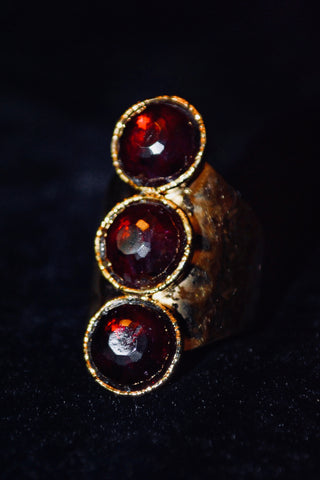 3 Stone Red Ruby Ring