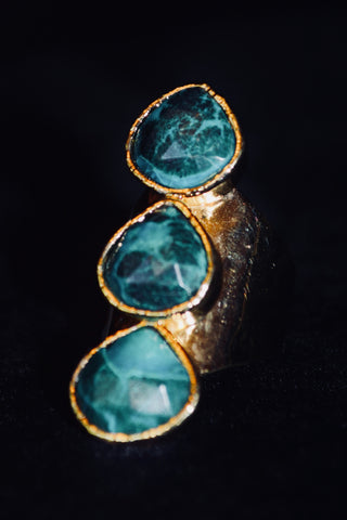3 Stone Chrysocolla Ring