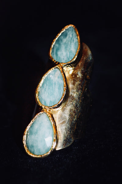 3 Stone Aquamarine Ring