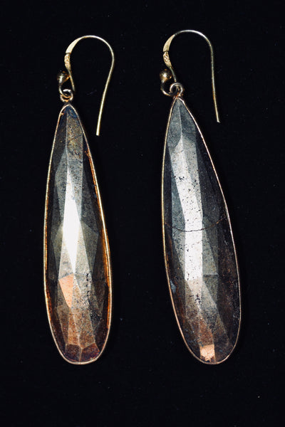 Long Drop Pyrite Earrings