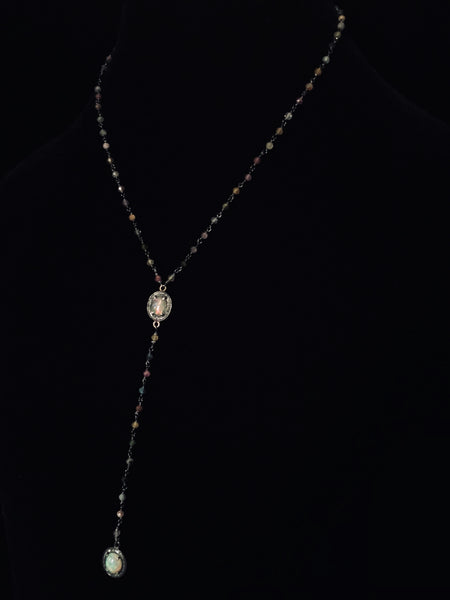 Watermelon Turmaline Necklace with Opal and Pave Black Diamond Pendant