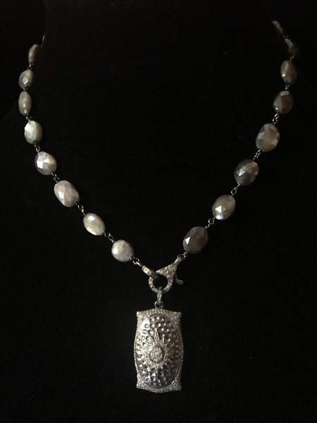 Stirling Silver and Black Pave Diamond Pendant