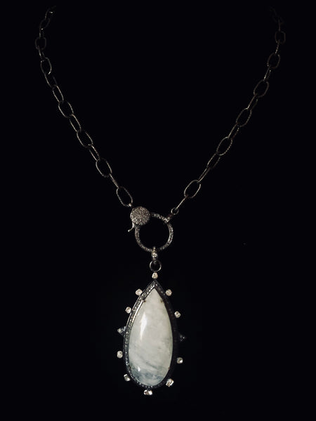 Moonstone with Sliced Diamond Pendant