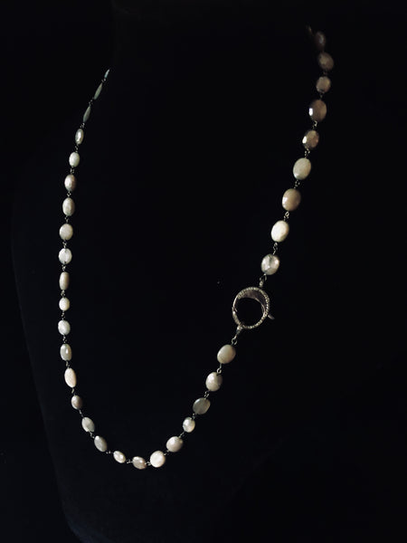 Bone Necklace with Black Diamond Clasp