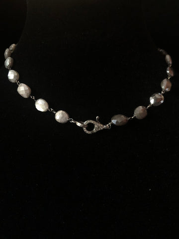 Pink Moonstone Necklace with Black Diamond Clasp