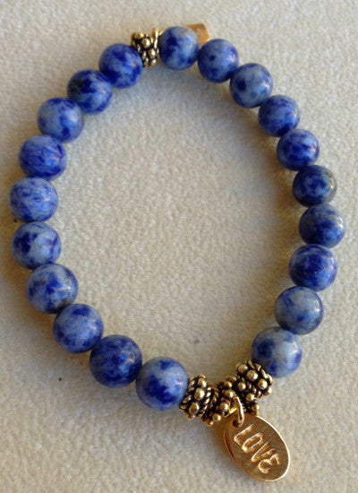 Lapis with Hanging Gold 'Love' Charm