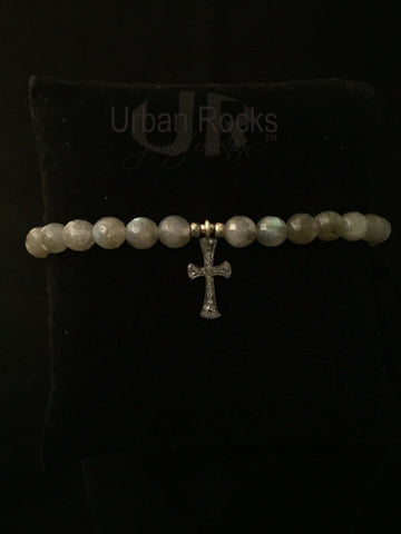 Labitdorite Beaded Bracelet with Black Diamond Pave Cross Charm