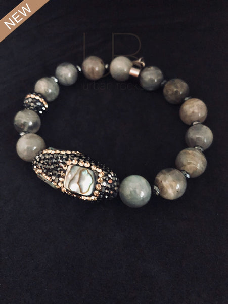 Labradorite and Hematite with Abalone Bracelet