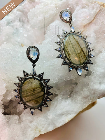Labradorite and Moonstone Diamond Peak Earrings