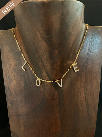 Gorgeous Floating Love Necklaces Sterling Silver with 18K Gold Overlay with Pave Diamonds
