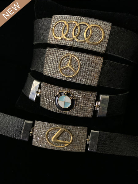 UR Special Luxury Auto Black Diamond Leather Bracelets
