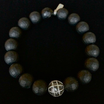 Men's Matte Faceted Onyx with Black Diamond