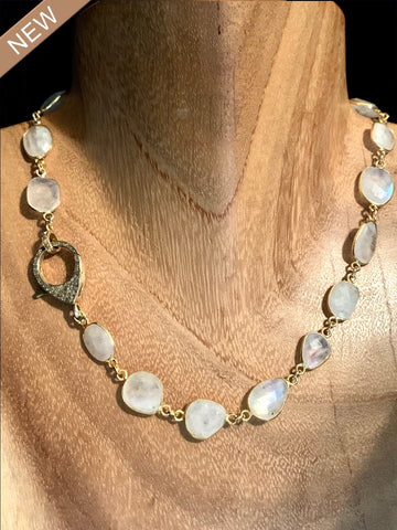 Moonstone Choker with Gold Black Diamond Clasp
