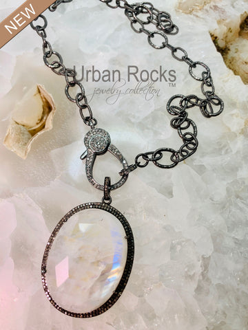 Moonstone Pendant with Black Diamond Halo