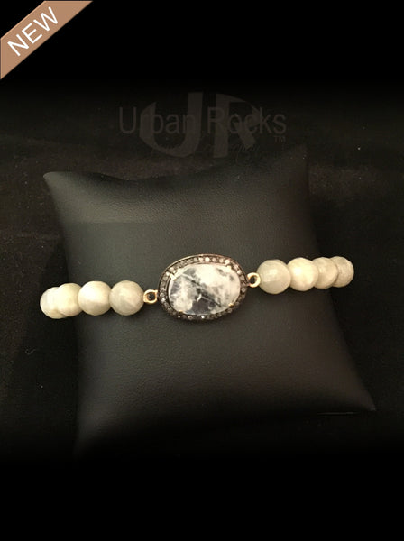 Moonstone in Black Diamond Bracelet