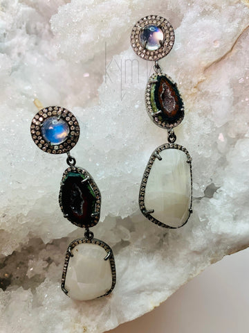 Moonstone and Druzy and Opal Pave Diamond Drop Earrings