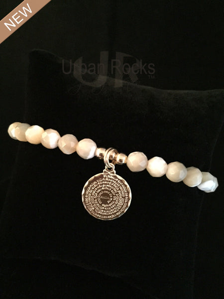 Mother of Pearl Dime Size Lord's Prayer Bracelet