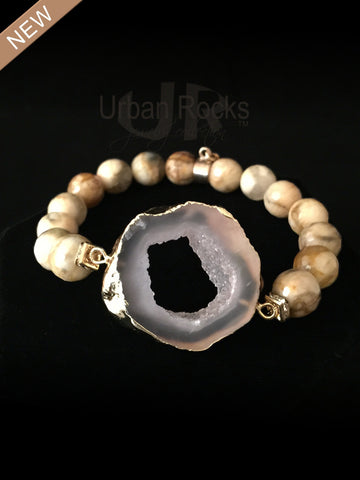 Mother of Pearl Slice Quartz Druzy Beaded Bracelet
