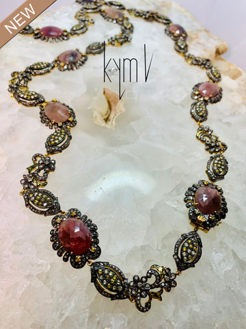 One-of-a-Kind Sapphire Yellow Diamonds Black Diamonds Statement Necklace