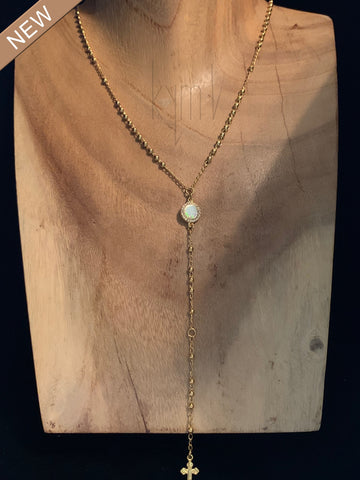 Opal Light Lariat Style Necklace with a Cross