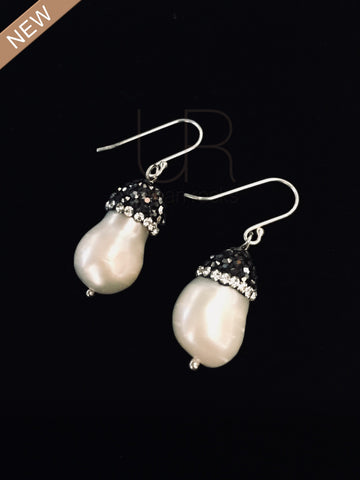 Pearl and Turkish Style Crystals Earrings