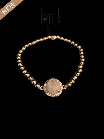 Cheerful Pink Moonstone Bezel Centerpiece Bracelet