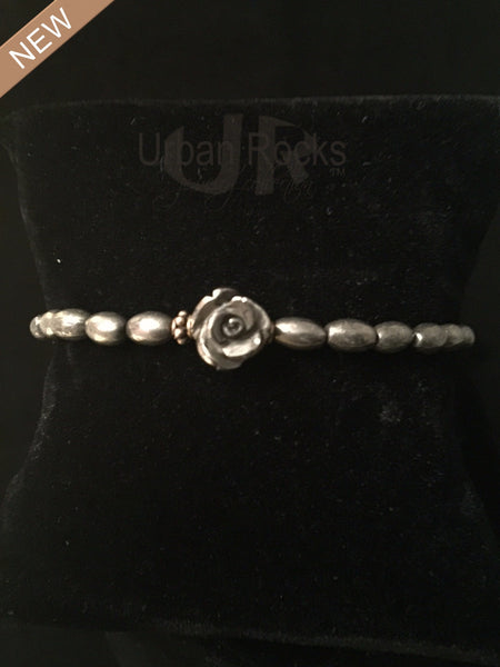 Pyrite Tiny Beaded Bracelet with Rose Charm