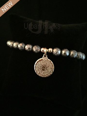 Pyrite Dime Size Lord's Prayer Bracelet