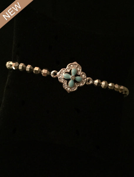 Pyrite with Turquoise Flower Bezel Charm