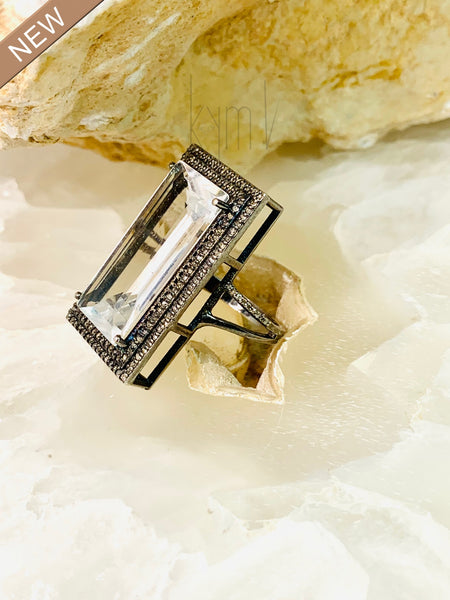 Rectangle Tourmaline Sterling Silver Ring with Black Diamonds