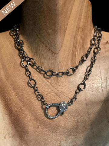 Rhodium Necklace with Black Diamond Clasp