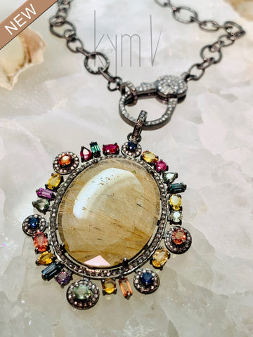 Rutilated Quartz Diamond Multi Gemstone Pendant