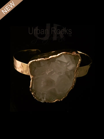 Rock Crystal Cuff Vermeil Bracelet (Silver dipped in 14k gold)