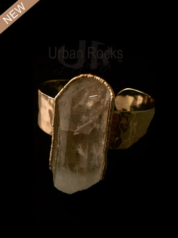 Rock Crystal Oblong Cuff Vermeil Bracelet (Silver dipped in 14 karat gold)