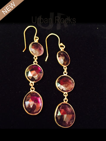 Ruby Three Drop Earrings
