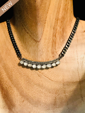 Slice Raw Diamonds and Pave Diamonds Super Cute Choker Necklace