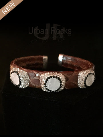 Snakeskin Medium Bracelet with Mother of Pearl and Crystal