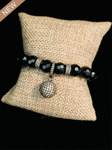 Spinel and Black Diamond Drop Ball Bracelet