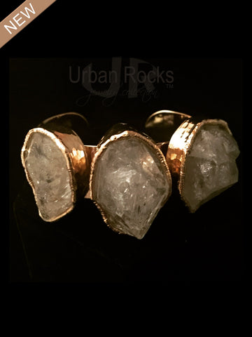 Three Stone Rock Crystal Cuff Vermeil Bracelet (silver dipped in 14k gold)