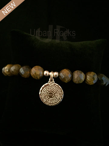 Tiger's Eye Dime Size Lord's Prayer Bracelet