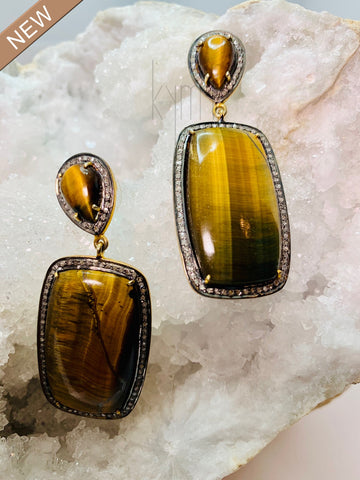 Tigers Eye Rectangle Earrings with Pave Diamond Surround