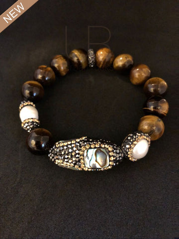 Tigers Eye and Abalone with Freshwater Baroque Pearls Bracelet