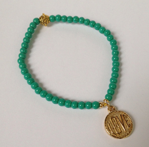 Tiny Turquoise Crystal Bracelet with Love Charm