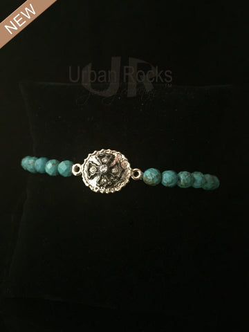 Turquoise Bracelet and Hematite and Rhodium Cross