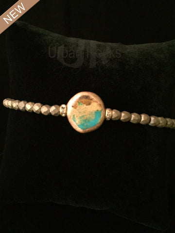 Turquoise and Matte Pyrite Bracelet