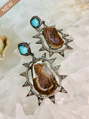 Turquoise and Druzy Diamond Burst Earrings